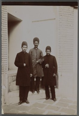 Mirza Gholam-Ali, Abbas Gholi Bek and Mirza Yahya,  One of 274 Vintage Photographs, late 19th-early 20th century. Gelatin silver printing out paper, 7 3/16 x 4 13/16 in.  (18.2 x 12.2 cm). Brooklyn Museum, Purchase gift of Leona Soudavar in memory of Ahmad Soudavar, 1997.3.137