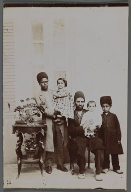 His Excellency the Mohteshem-al-Vexareh's Two Daughters and Servants One of 274 Vintage Photographs, late 19th-early 20th century. Gelatin silver printing out paper, 7 1/4 x 4 3/4 in.  (18.4 x 12.1 cm). Brooklyn Museum, Purchase gift of Leona Soudavar in memory of Ahmad Soudavar, 1997.3.138