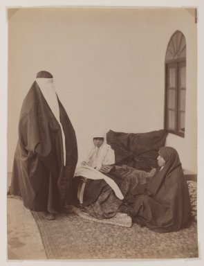 Possibly Antoin Sevruguin. Two Veiled Women and a Child, Late 19th century. Albumen silver photograph, 9 1/8 x 6 3/16 in.  (23.2 x 15.7 cm). Brooklyn Museum, Purchase gift of Leona Soudavar in memory of Ahmad Soudavar, 1997.3.13