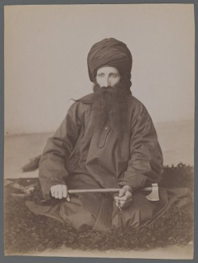 Portrait of a Dervish, late 19th-early 20th century. Albumen silver photograph, 8 1/8 x 6 1/8 in.  (20.7 x 15.6 cm). Brooklyn Museum, Purchase gift of Leona Soudavar in memory of Ahmad Soudavar, 1997.3.142