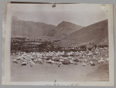 A Photogragh of a Photograph of a Royal Tent Encampment, One of 274 Vintage Photographs, late 19th-early 20th century. Albumen silver photograph, 5 1/16 x 6 7/8 in.  (12.9 x 17.4 cm). Brooklyn Museum, Purchase gift of Leona Soudavar in memory of Ahmad Soudavar, 1997.3.143