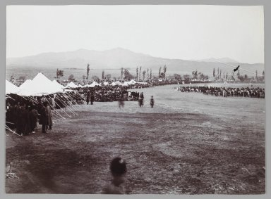 Horserace in Bagh-e-Shah,  One of 274 Vintage Photographs, late 19th-early 20th century. Gelatin silver printing out paper, 4 5/8 x 6 5/16 in.  (11.7 x 16.0 cm). Brooklyn Museum, Purchase gift of Leona Soudavar in memory of Ahmad Soudavar, 1997.3.144