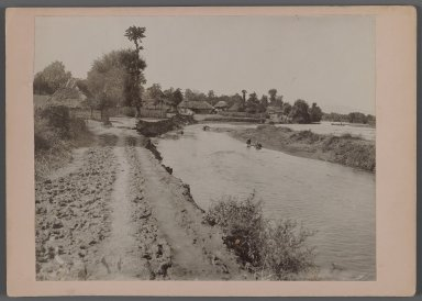 Thatched Cottage by River, possibly Caspian Area, One of 274 Vintage Photographs, late 19th-early 20th century. Gelatin silver printing out paper, Photo:  6 7/16 x 8 1/4 in.  (16.4 x 21.0 cm);. Brooklyn Museum, Purchase gift of Leona Soudavar in memory of Ahmad Soudavar, 1997.3.167