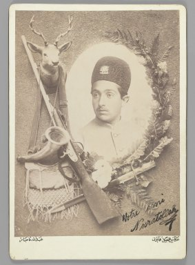 Abdullah Qajar. Official Royal Portrait of Prince Nosratollah, One of 274 Vintage Photographs, 1899. Albumen silver photograph, photograph: 8 5/8 x 6 5/16 in. (21.9 x 16 cm). Brooklyn Museum, Purchase gift of Leona Soudavar in memory of Ahmad Soudavar, 1997.3.181