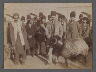 Ram Fight,  One of 274 Vintage Photographs, late 19th-early 20th century. Albumen silver photograph, 6 1/8 x 8 1/8 in.  (15.6 x 20.7 cm). Brooklyn Museum, Purchase gift of Leona Soudavar in memory of Ahmad Soudavar, 1997.3.185