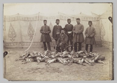 Portrait of Prince Abdul Husayn Mirza (Farma Farmaian) after Hunting  Gazelles,  One of 274 Vintage Photographs, late 19th-early 20th century. Albumen silver photograph, 5 1/16 x 7 1/16 in.  (12.9 x 18.0 cm). Brooklyn Museum, Purchase gift of Leona Soudavar in memory of Ahmad Soudavar, 1997.3.193