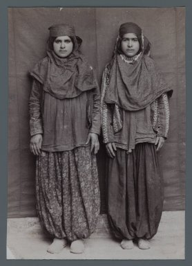 Two Woman Posing in Provincial Costumes including Pantaloons Chaqchur, One of 274 Vintage Photographs, late 19th-early 20th century. Albumen silver photograph, 5 3/8 x 3 3/4 in.  (13.6 x 9.6 cm). Brooklyn Museum, Purchase gift of Leona Soudavar in memory of Ahmad Soudavar, 1997.3.19