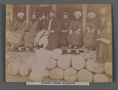 Persian Tobacco Merchants,  One of 274 Vintage Photographs, late 19th-early 20th century. Albumen silver photograph, 6 1/16 x 8 3/16 in.  (15.4 x 20.8 cm). Brooklyn Museum, Purchase gift of Leona Soudavar in memory of Ahmad Soudavar, 1997.3.221