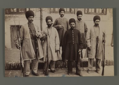 A Persian Dignitary Accompanied by Five Soldiers on Horseback, One of 274 Vintage Photographs, late 19th-early 20th century. Albumen silver photograph, 5 5/16 x 8 5/16 in.  (13.5 x 21.1 cm). Brooklyn Museum, Purchase gift of Leona Soudavar in memory of Ahmad Soudavar, 1997.3.226