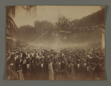 A Crowd of Men and Women Gathered to Celebrate the Granting of a Constitution, One of 274 Vintage Photographs, late 19th-early 20th century. Albumen silver photograph, 7 1/4 x 8 3/16 in.  (18.4 x 20.8 cm). Brooklyn Museum, Purchase gift of Leona Soudavar in memory of Ahmad Soudavar, 1997.3.227