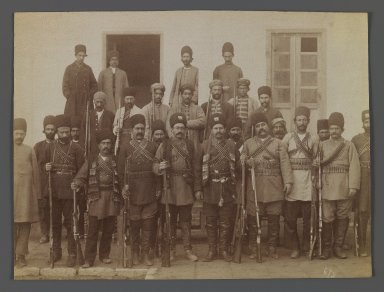 A Group of Soldiers, One of 274 Vintage Photographs, late 19th-early 20th century. Albumen silver photograph, 6 1/8 x 8 1/8 in.  (15.6 x 20.6 cm). Brooklyn Museum, Purchase gift of Leona Soudavar in memory of Ahmad Soudavar, 1997.3.229