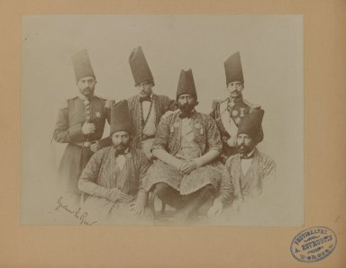 Gustave le Grand. Members of the Special Mission of Persia to the Courts of Europe led by Farroukh Khan, Amin al-Dowleh, One of 274 Vintage Photographs, 1857. Gelatin silver printing out paper, photograph: 6 11/16 x 8 15/16 in. (17 x 22.7 cm). Brooklyn Museum, Purchase gift of Leona Soudavar in memory of Ahmad Soudavar, 1997.3.232