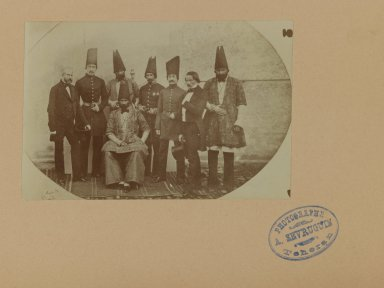 Farroukh Khan, Amin al-Dowleh and his Suite with French Officials, One of 274 Vintage Photographs, 1857. Gelatin silver printing out paper, photo:  3 11/16 x 5 9/16 in.  (9.4 x 14.1 cm);. Brooklyn Museum, Purchase gift of Leona Soudavar in memory of Ahmad Soudavar, 1997.3.233