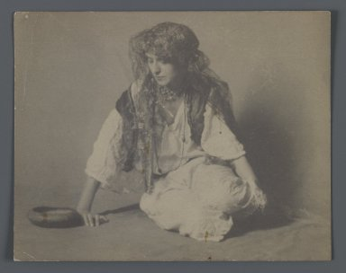 Studio Shot of European in Gypsy Costume, One of 274 Vintage Photographs, late 19th-early 20th century. Albumen silver photograph, 3 13/16 x 4 13/16 in.  (9.7 x 12.3 cm). Brooklyn Museum, Purchase gift of Leona Soudavar in memory of Ahmad Soudavar, 1997.3.23