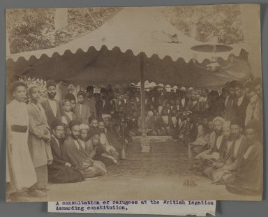 A Consultation of Refugees at the British Legation Demanding Constution I,  One of 274 Vintage Photographs, late 19th-early 20th century. Albumen silver photograph, 6 5/16 x 8 3/16 in.  (16.0 x 20.8 cm). Brooklyn Museum, Purchase gift of Leona Soudavar in memory of Ahmad Soudavar, 1997.3.243