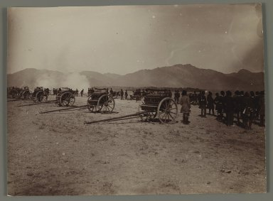A  Military Review with Cannons,  One of 274 Vintage Photographs, late 19th-early 20th century. Gelatin silver printing out paper, 4 5/8 x 6 5/16 in.  (11.8 x 16.0 cm). Brooklyn Museum, Purchase gift of Leona Soudavar in memory of Ahmad Soudavar, 1997.3.246