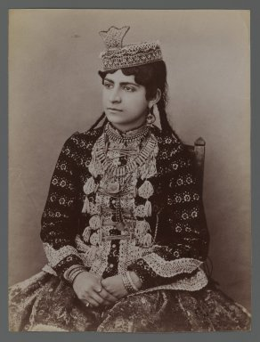 Young Girl in Urban Dress, featuring Hat with Crown Ornament, One of 274 Vintage Photographs, late 19th-early 20th century. Albumen silver photograph, 8 3/16 x 6 1/8 in.  (20.8 x 15.6 cm). Brooklyn Museum, Purchase gift of Leona Soudavar in memory of Ahmad Soudavar, 1997.3.24
