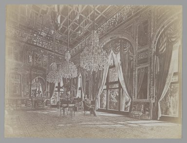 A Photograph of Muhammad Ghaffari's Painting of Mozaffer al-Din Shah Seated in the Mirror Hall (Talar-i A'ina). One of 274 Vintage Photographs, 1896. Albumen silver photograph, 6 1/8 x 8 3/16 in.  (15.6 x 20.8 cm). Brooklyn Museum, Purchase gift of Leona Soudavar in memory of Ahmad Soudavar, 1997.3.258