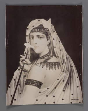 Painting of a Persian Harem Girl/Odalisque,  One of 274 Vintage Photographs, late 19th-early 20th century. Gelatin silver printing out paper, 8 3/4 x 6 3/4 in.  (22.3 x 17.2 cm). Brooklyn Museum, Purchase gift of Leona Soudavar in memory of Ahmad Soudavar, 1997.3.259