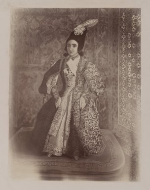 Photogragh of a Water Painting of Nasr-al-Din Shah as a Youth, Tehran, 1846,  One of 274 Vintage Photographs, late 19th-early 20th century. Gelatin silver printing out paper, photo:  8 11/16 x 6 11/16 in.  (22.0 x 17.0 cm);. Brooklyn Museum, Purchase gift of Leona Soudavar in memory of Ahmad Soudavar, 1997.3.266
