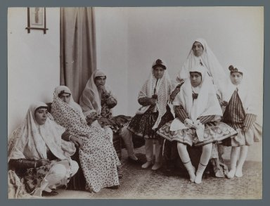 Harem Scene with Mothers and Daughters in Varying Costumes, One of 274 Vintage Photographs, late 19th-early 20th century. Albumen silver photograph, 6 3/16 x 8 3/16 in.  (15.7 x 20.8 cm). Brooklyn Museum, Purchase gift of Leona Soudavar in memory of Ahmad Soudavar, 1997.3.26