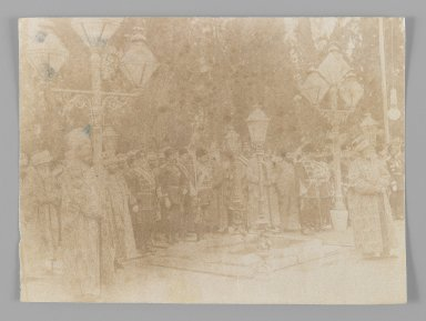 Group Portrait with Mozzaffar al-Din at Old Age,  One of 274 Vintage Photographs, late 19th-early 20th century. Albumen silver photograph, 4 1/16 x 5 1/2 in.  (10.3 x 13.9 cm). Brooklyn Museum, Purchase gift of Leona Soudavar in memory of Ahmad Soudavar, 1997.3.273