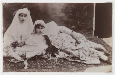 Antoin Sevruguin. Women Posing with Bouquets, One of 274 Vintage Photographs, Late 19th century. Albumen silver photograph, 5 1/4 x 9 3/16 in.  (13.3 x 23.3 cm). Brooklyn Museum, Purchase gift of Leona Soudavar in memory of Ahmad Soudavar, 1997.3.33. Creative Commons-BY