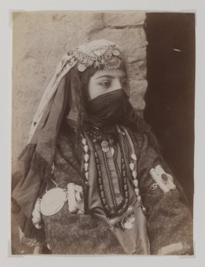 Portrait of Female Member of Shah's Family, One of 274 Vintage Photographs, late 19th-early 20th century. Albumen silver photograph, 8 1/8 x 6 1/8 in.  (20.7 x 15.6 cm). Brooklyn Museum, Purchase gift of Leona Soudavar in memory of Ahmad Soudavar, 1997.3.37