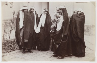 Antoin Sevruguin. Group Veiled Women with a Baby, Late 19th century. Albumen silver photograph, 5 3/16 x 8 3/16 in.  (13.2 x 20.8 cm). Brooklyn Museum, Purchase gift of Leona Soudavar in memory of Ahmad Soudavar, 1997.3.3