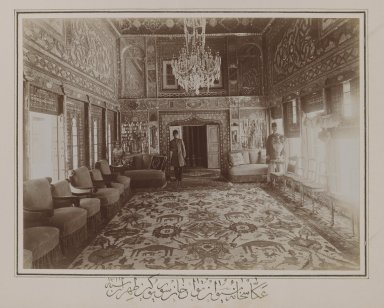 Persian Room in Mooven-el-Dowleh's Old Home,Tehran,  One of 274 Vintage Photographs, 1901. Gelatin silver printing out paper, photo:  6 3/4 x 9 in.  (17.1 x 22.9 cm);. Brooklyn Museum, Purchase gift of Leona Soudavar in memory of Ahmad Soudavar, 1997.3.52