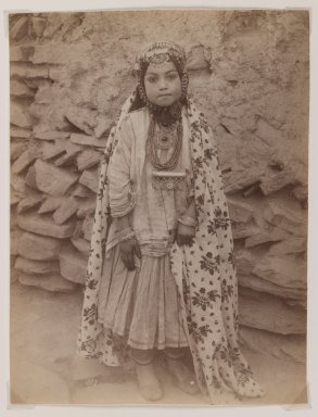 Antoin Sevruguin. Girl Adorned in Silver Jewelry, late 19th century. Albumen silver photograph, 8 1/8 x 6 3/16 in.  (20.6 x 15.7 cm). Brooklyn Museum, Purchase gift of Leona Soudavar in memory of Ahmad Soudavar, 1997.3.5