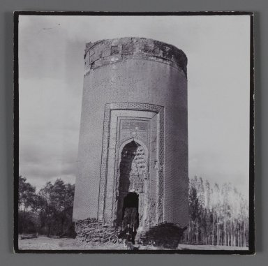 Tomb Tower with Glazed Tilework,  One of 274 Vintage Photographs, late 19th-early 20th century. Silver collodion photograph, 3 1/4 x 3 1/4 in.  (8.3 x 8.2 cm). Brooklyn Museum, Purchase gift of Leona Soudavar in memory of Ahmad Soudavar, 1997.3.60