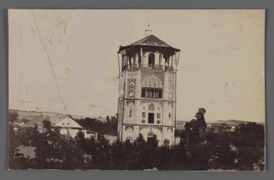 Suhanatabal, Nasr-al Din Shah's,  A Royal Palace of Figural Tilework, One of 274 Vintage Photographs, late 19th-early 20th century. Gelatin silver photograph on printing out paper, 5 5/16 x 8 7/16 in.  (13.5 x 21.5 cm). Brooklyn Museum, Purchase gift of Leona Soudavar in memory of Ahmad Soudavar, 1997.3.63