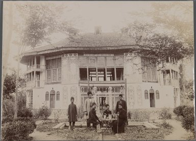 Taking Tea Outside a Palace, One of 274 Vintage Photographs, late 19th-early 20th century. Gelatin silver photograph on printing out paper, 6 1/2 x 9 in.  (16.5 x 22.8 cm). Brooklyn Museum, Purchase gift of Leona Soudavar in memory of Ahmad Soudavar, 1997.3.74