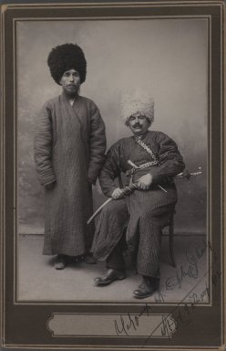 Two Khans in Turkoman Tribal Costume, One of 274 Vintage Photographs, 1912. Silver matte collodion photograph, 6 5/8 x 4 5/16 in.  (16.8 x 11.0 cm). Brooklyn Museum, Purchase gift of Leona Soudavar in memory of Ahmad Soudavar, 1997.3.85