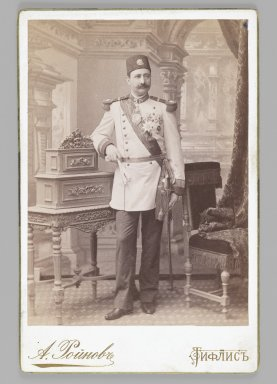 Studio Portrait of a Royal Officer, One of 274 Vintage Photographs, 1899(?). Albumen silver photograph, Photograph: 5 3/8 x 3 7/8 in. (13.7 x 9.8 cm). Brooklyn Museum, Purchase gift of Leona Soudavar in memory of Ahmad Soudavar, 1997.3.90