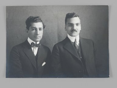 Portrait of Mirza Husayn Khan and Mirza Taghi Khan Amir Kabir, One of 274 Vintage Photographs, late 19th-early 20th century. Gelatin silver printing out paper, 3 1/4 x 4 5/8 in.  (8.3 x 11.7 cm). Brooklyn Museum, Purchase gift of Leona Soudavar in memory of Ahmad Soudavar, 1997.3.97
