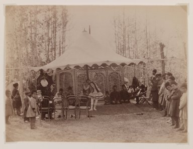 Girl Performing in a Tent, Late 19th century. Albumen silver photograph, 6 1/8 x 8 1/8 in.  (15.6 x 20.6 cm). Brooklyn Museum, Purchase gift of Leona Soudavar in memory of Ahmad Soudavar, 1997.3.9