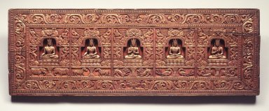 Manuscript Cover with the Five Tathagatas, ca. 1200. Wood, color, gold, 9 5/8 x 27 1/2 x 1 1/8 in. (24.4 x 69.9 x 2.9 cm). Brooklyn Museum, Gift of the Asian Art Council, 1997.59.1. Creative Commons-BY