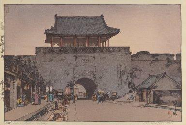 Hiroshi Yoshida (Japanese, 1876-1950). Dainan Gate in Mukden. Woodblock print on paper, image: 9 5/8 x 12 3/4 in. Brooklyn Museum, Gift of Mrs. William R. Liberman, 1997.60.3. © Estate of Hiroshi Yoshida