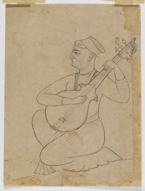 Musician Kneeling with a Sitar, ca. 1710. Ink on paper with white details, 7 7/16 x 5 5/8 in. (18.9 x 14.3 cm). Brooklyn Museum, Gift of Doris Wiener, 1997.62