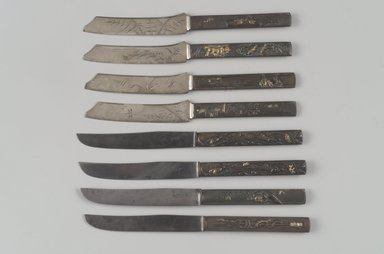 Knife, One of Set of Six, ca. 1880. Bronze, steel, gilding, 8 1/4 x 5/8 x 3/8 in. (21 x 1.6 x 1 cm). Brooklyn Museum, Purchased with funds bequeathed by Rose Katz in memory of Gabriel Gus Katz, 1997.66.12. Creative Commons-BY