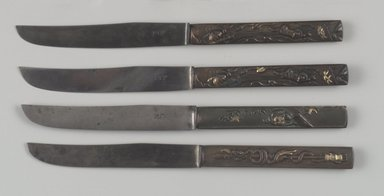Knife, One of Set of Six, ca. 1880. Bronze, steel, gilding, 8 1/4 x 5/8 x 3/8 in. (21 x 1.6 x 1 cm). Brooklyn Museum, Purchased with funds bequeathed by Rose Katz in memory of Gabriel Gus Katz, 1997.66.11. Creative Commons-BY