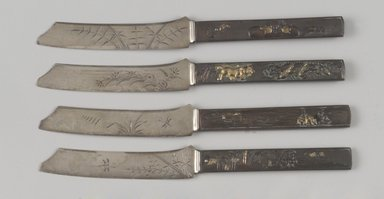 Gorham Manufacturing Company (founded 1865). Fruit Knife, One of Set of Six, ca. 1880. Silver, bronze, gilding, 3/16 x 7 3/4 x 7/8 in. (0.5 x 19.7 x 2.2 cm). Brooklyn Museum, H. Randolph Lever Fund, 1997.66.6. Creative Commons-BY