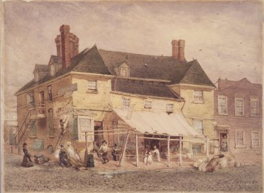 John Mackie Falconer (American, 1820-1903). William Penn's Mansion, South Second Street, Philadelphia, 1864, 1864. Transparent watercolor with small touches of opaque watercolor on cream, medium-weight, slightly textured wove paper mounted to particleboard, 17 1/2 x 23 1/2 in. (44.5 x 59.7 cm). Brooklyn Museum, Gift of the American Art Council and Bernard and S. Dean Levy, 1997.76