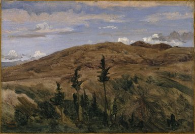 Jean-Baptiste-Camille Corot (French, 1796-1875). Mountains in Auvergne (Montagnes d'Auvergne), 1841-1842. Oil on paper mounted on linen, 11 1/4 x 16 1/4 in. (28.6 x 41.3 cm). Brooklyn Museum, Purchased with funds given by Karen B. Cohen, Mary Smith Dorward Fund, Gift of A. Augustus Healy and Annie H. Halsted, by exchange, 1997.8