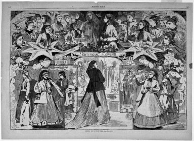 Winslow Homer (American, 1836-1910). Opening Day in New York, 1868. Wood engraving, Image: 13 5/8 x 20 1/8 in. (34.6 x 51.1 cm). Brooklyn Museum, Gift of Harvey Isbitts, 1998.105.105