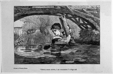 "Winslow Homer (American, 1836-1910). ""Orrin, Make Haste, I Am Perishing!,"" 1868. Wood engraving, Image: 4 3/4 x 7 in. (12.1 x 17.8 cm). Brooklyn Museum, Gift of Harvey Isbitts, 1998.105.115"