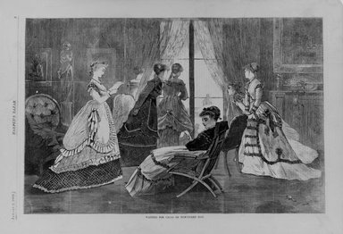 Winslow Homer (American, 1836-1910). Waiting for Calls on New-Year's Day, 1869. Wood engraving, Image: 9 1/8 x 12 in. (23.2 x 30.5 cm). Brooklyn Museum, Gift of Harvey Isbitts, 1998.105.122