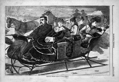 Winslow Homer (American, 1836-1910). Christmas Belles, 1869. Wood engraving, Sheet: 9 3/16 x 13 7/8 in. (23.3 x 35.2 cm). Brooklyn Museum, Gift of Harvey Isbitts, 1998.105.123